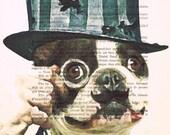 Vintage Bulldog: Art Poster Digital Art Original Illustration Giclee Print Wall art Wall Hanging Wall Decor Animal Painting, coco