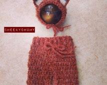 Woodland Fluffy fox mohair set. Newborn shorties / pants and matching fox bonnet. Great photo prop. UK seller