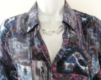 80s Erika Blue Purple Print Artsy Silk Button Down Shirt Blouse Top M