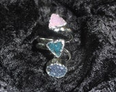 Blue Pink Agate Druzy Ring Size 8 Womens Ladies Jewelry - Free Shipping