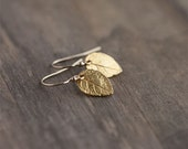 Tiny Gold Leaf Earrings / Mini Leaves in 24K Gold Vermeil and 14K Gold Filled / Woodland Jewelry / Leaves