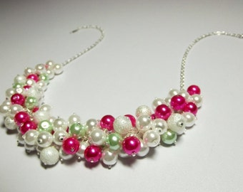 Hot Pink Fuchsia and White Pearl Cluster Necklace, Spring, Mothers Day Gift, Mom Sister Grandmother Jewelry, Cocktail, Party, Pretty
