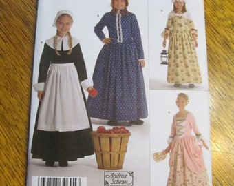 DESIGNER Storybook Costumes - Pilgrim, Pioneer, Civil War, Princess - Girl's Size 3 - 4 - 5 - 6 - UNCUT Sewing Pattern Simplicity 3725