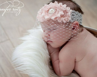 Baptism Headband .. Blush Baby Pink Vintage Christening Headband .. Birdcage Veil ..  Baby Baptism Headband