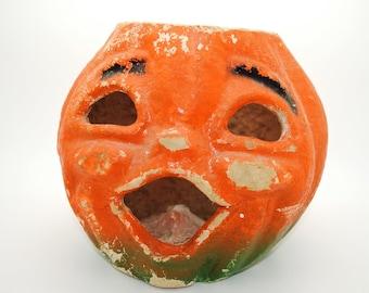 Vintage Halloween Paper Mache Pumpkin - Large Size - Jack O Lantern - JOL - 40's - 50's - Halloween Collectible - Halloween Decor