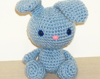 Spring Bunny - Sky Blue Crochet Bunny Doll (Finished Doll)