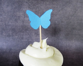 24 Turquoise Blue Butterfly Cupcake Toppers, Party Decor, Weddings, Showers, Birthdays, Summer