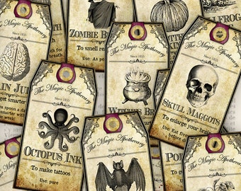 15 Halloween Apothecary Tags 4.25 x 2.23 inch printable instant download digital collage sheet VDTAHA0940