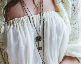 Three Key Necklaces Special Price The Secret Garden Vintage Style Long Necklaces bridesmaid necklace