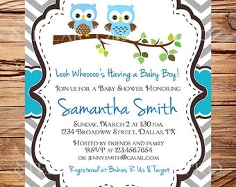 Owl Baby Shower Invitation, Baby Shower Invite, Boy, Girl, Blue, Blue, Pink, Chevron Stripes, Yellow, Green, Yellow, 1442
