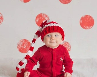 Santa Hat, Christmas Elf Hat, 12 Month Hat, Santa Elf Hat, Photography Prop, Christmas Prop, Christmas Hat, Red And White Hat, Stocking Cap