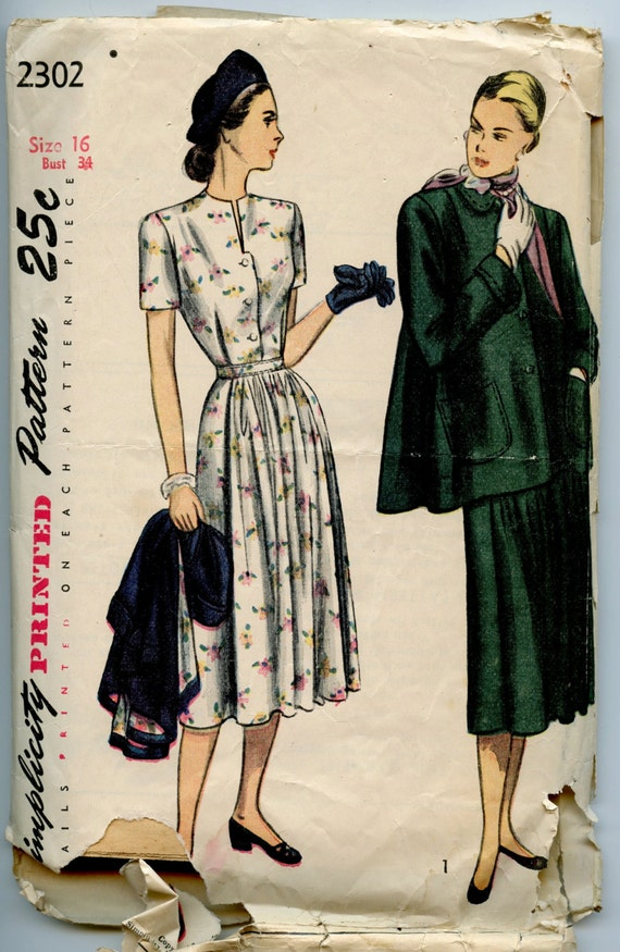 1940s Simplicity 2302 Vintage Sewing Pattern Misses Maternity Dress & Flared Jacket Bust 34