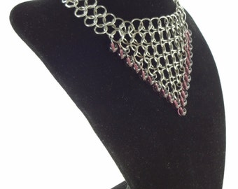 Renaissance Wedding Necklace Headdress With Purple Glass Beads