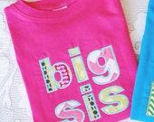 Instant Download . Big Sister with Optional Running Stitch Applique Embroidery Design - 2 Sizes