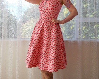 "Rockabilly 1950s Strawberry Dress ""Levi"" with Sweetheart neckline, Button Detail and Bow tie - Custom made to fit"