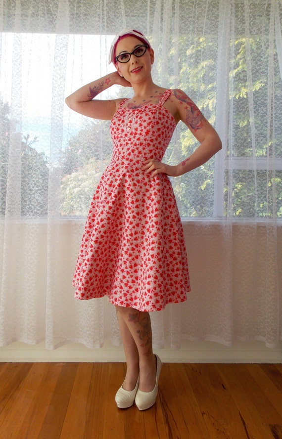 """Rockabilly 1950s Strawberry Dress """"Levi"""" with Sweetheart neckline, Button Detail and Bow tie - Custom made to fit"""
