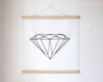 Huge black diamond - Hand embroidered banner - Geometric - 20x20 inches