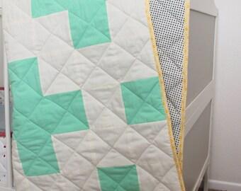 SALE modern baby crib quilt mint polka dot gender neutral nursery yellow hexagon baby crib Plus Quilt for Boy or Girl