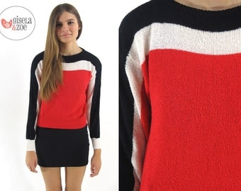 Vintage 80s Color Block Sweater Mod Sweater Fitted Black White & Red Sweater / x-small / small