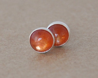 Sunstone Earrings with Sterling Silver Studs. 5mm Cabochon Gemstone Earrings