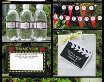 Movie Party Invitations & Decorations - full Printable Collection with EDITABLE text - you personalize at home - INSTANT DOWNLOAD