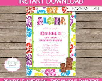 Luau Invitation Template - Birthday Party - INSTANT DOWNLOAD with EDITABLE text - you personalize at home