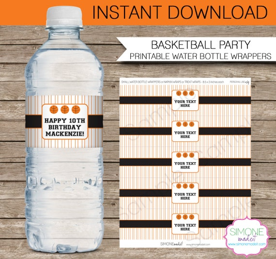 Basketball Party Water Bottle Labels Or Wrappers  Orange Black