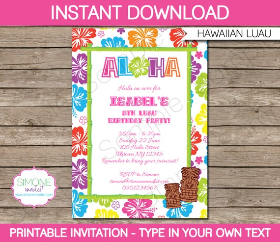 Luau invitation template birthday party instant for Luau invitations templates free