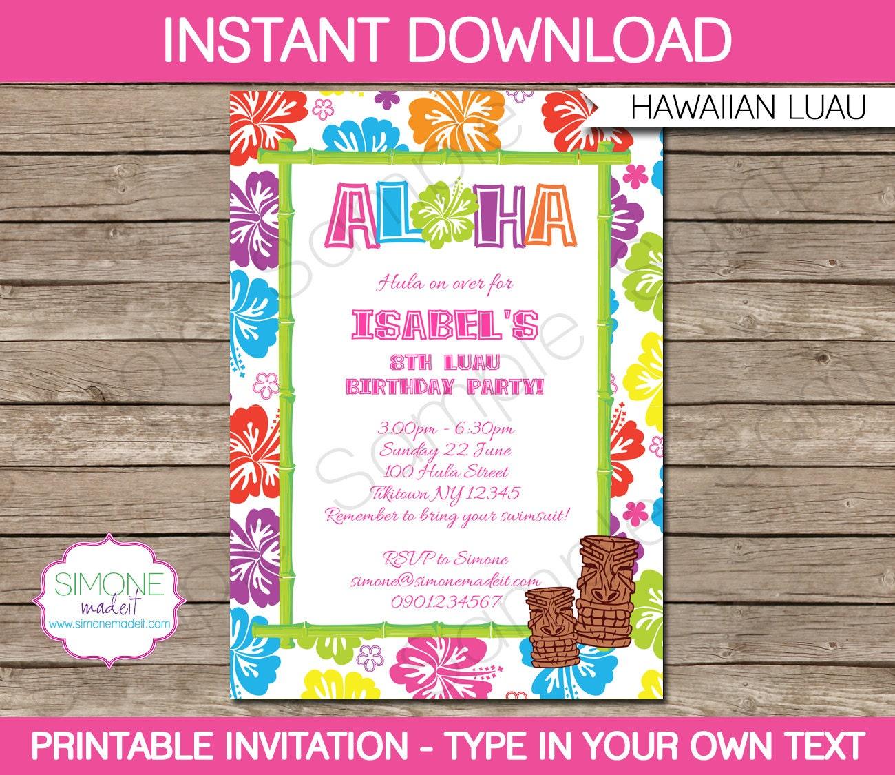 Luau invitation template birthday party instant download for Instant download invitations