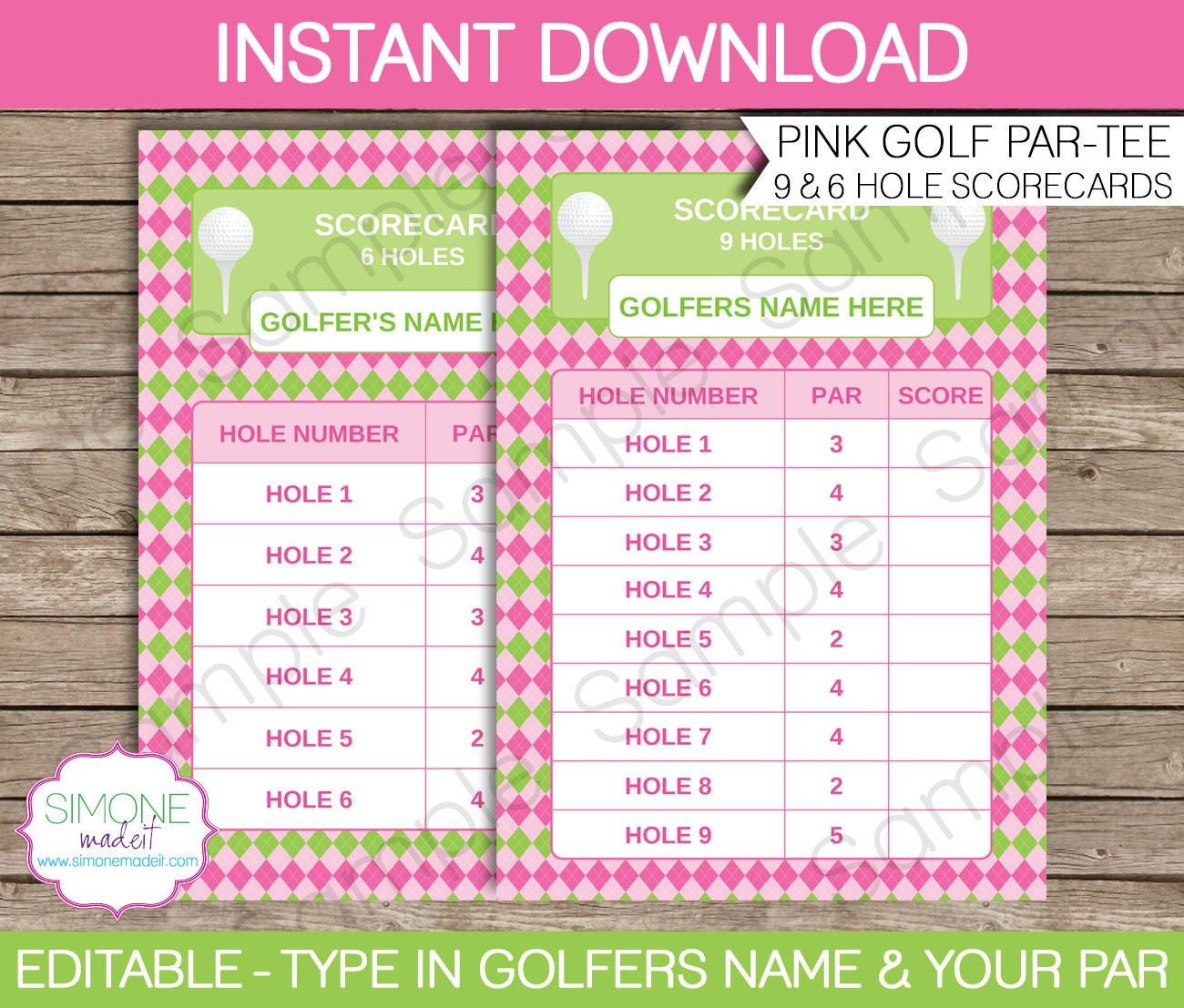 pink golf scorecard for 9  u0026 6 holes instant download