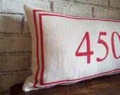 House Number Pillow - Decorative Lumbar Pillow - Burlap Pillow - Housewarming Gift - Custom Number Pillow - Feedsack Pillow - Rustic Decor