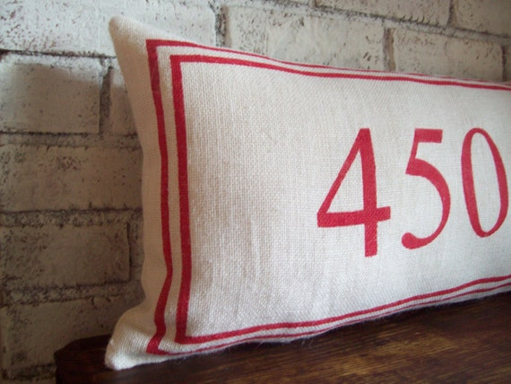 House Number Pillow Decorative Lumbar Pillow Burlap Pillow