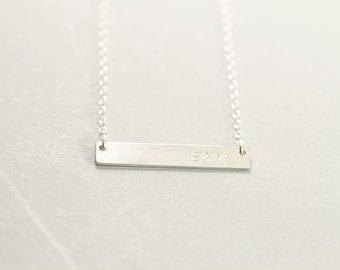 Sterling silver bar initial necklace, personalized necklace, custom engraved horizontal bar necklace, date