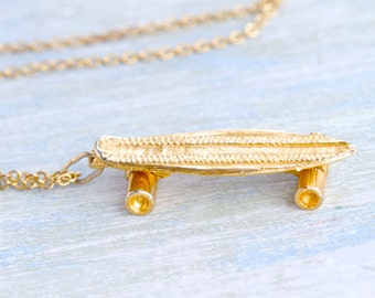 I Skater Necklace - Long Necklace - Miniature Golden Skating Board Pendant