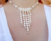 Freshwater Pearl Necklace -  Rock Crystal Necklace White and Silver Sterling Silver Necklace