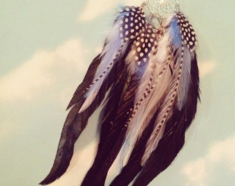 Dream Catcher Single Feather Earring, Extra Long, Black and White Grizzly Feathers, Feather Symbolism