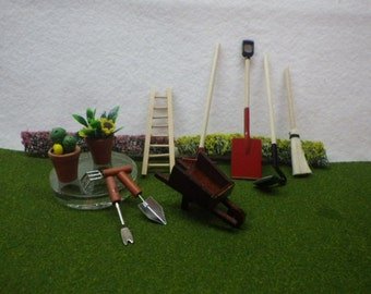 Yard Tools and Potted Plants Miniature Set for Fairy Garden or Dollhouse