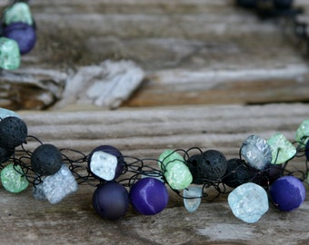 Handmade Crocheted Black Wire Necklace with Purple Agate, Black Lava and Crackled Sea Glass