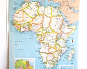 Africa, Map of Africa,Peach and Blue,Honeymoon Gift, Map to Frame,1960's Vintage Atlas Page,Gift Map, Pastel Colors, Midcentury Modern Decor