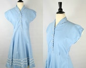 1950s Sky Blue, White Ric-Rac Short Sleeve, Shirtwaist, Cotton Dress