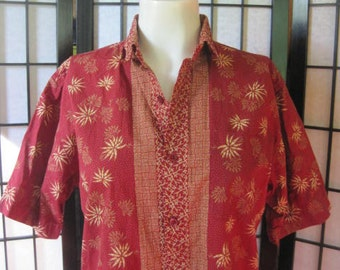 Vintage Batik Shirt by Batik Keris Dark Red Gold Beige Short Sleeve Top 38 Ethnic Unisex Mens Small S Womens Large