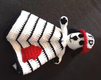 Fireman Dalmation Dog Lovey Cozy Cuddler crochet Pattern, photo prop
