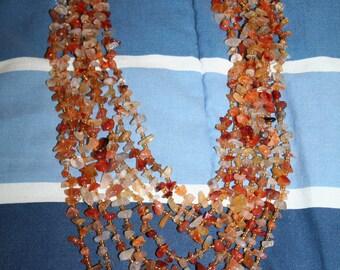 Destash Huge Carnelian Bib Necklace Chip Bead Lot for Repurpose or Repair w Minimal Work