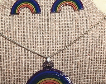 Rainbow Necklace and Earring Set
