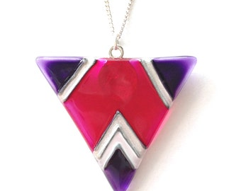 Geometric Triangle Pendant in Purple and Pink, Hand Painted Glass Necklace, Pink Glass Necklace with Fine Silver Plated Chain