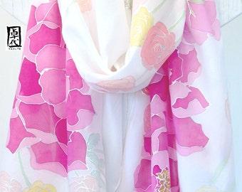 Silk Wedding Shawl, Bridal Shawl, Hand Painted Silk Shawl, Boho Bridal shawl, Pink Peonies Bouquet, 22x90 inch. Made to order