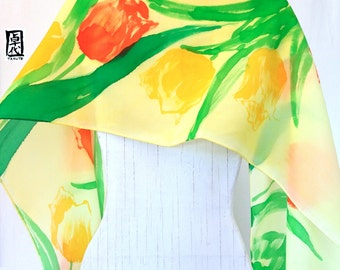 Yellow Silk Scarf Handpainted, ETSY, Gift for her, Christmas Gift, Yellow and Orange Tulips Scarf, Silk Crepe, takuyo, 14x72 inches.