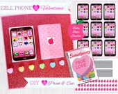 CELL PHONE VALENTINE Cards - Favor Tags - Instant Download - Bella Bella Studios