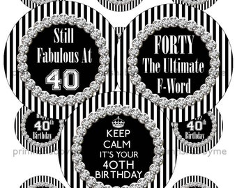 40th Birthday, 2 Inch Circles, Digital Collage Sheet, Printable Cupacke Toppers, Black And White Stripes With Bling, Birthday Party Circles