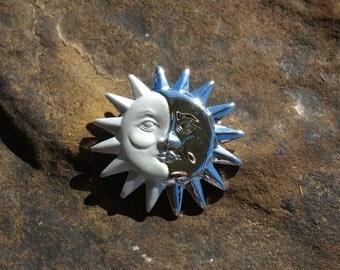 Vintage Sun and Moon Face Brooch Danecraft